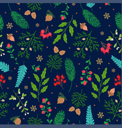 christmas seamless pattern with cute winter plants vector image