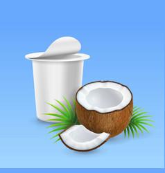 coconut yogurt open yogurt package ads vector image