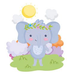 Cute animals elephant with flowers in head grass vector