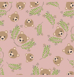 cute bear teddy and leafs pattern background vector image