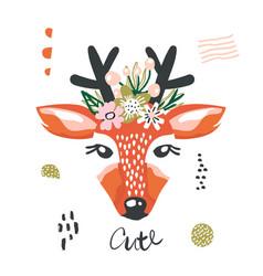cute cartoon dear girl with flowers on head vector image