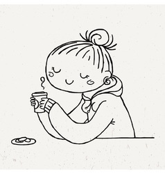 Cute doodle girl with cup of tea and cookies vector image