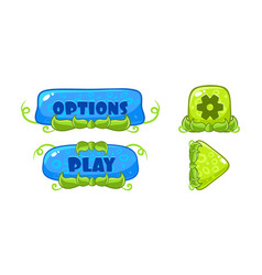 cute green and blue glossy buttons with nature vector image