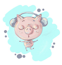 Cute little pig character listening music and vector