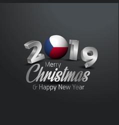czech republic flag 2019 merry christmas vector image