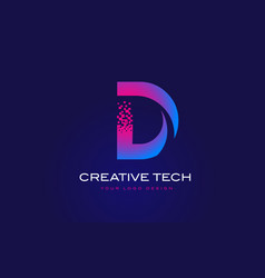 D initial letter logo design with digital pixels vector