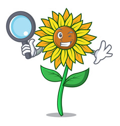 detective sunflower character cartoon style vector image