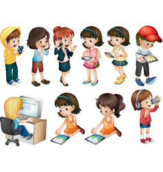 Different activities of young women vector