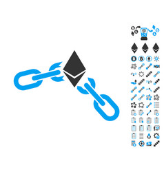 Ethereum broken chain icon with bonus pictograms vector