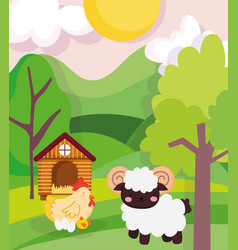 farm animals sheep and chicken barn trees vector image