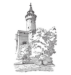 Feudal castle tower defensive structure vintage vector