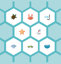 Flat icons sea star cancer aqualung and other vector