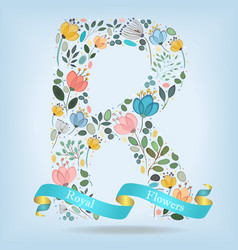 Floral letter r with blue ribbon vector