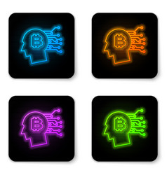 glowing neon bitcoin think icon isolated on white vector image