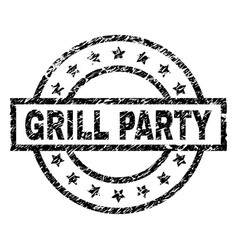 Grunge textured grill party stamp seal vector