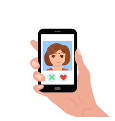 hand holding phone with girl on the screen vector image