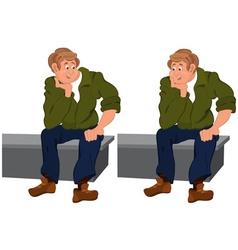 Happy cartoon man sitting on gray bench vector image