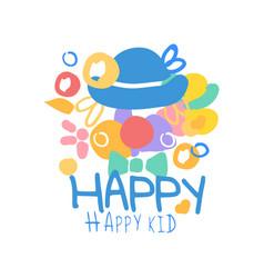 Happy happy kid logo template colorful hand drawn vector