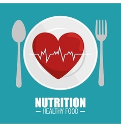 heart pulse nutrition healthy vector image