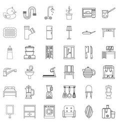 house decor icons set outline style vector image