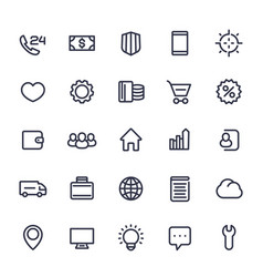 Icons for web in line style isolated on white vector