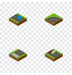 Isometric road set of footpassenger bitumen vector