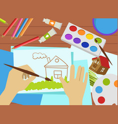 kids drawing lesson work process top view art vector image