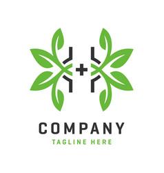 letter h health logo template vector image