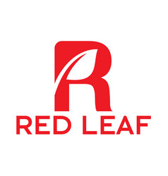 letter r red leaf logo vector image