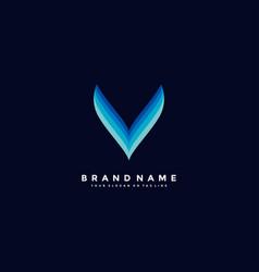 Letter v colorful logo design vector