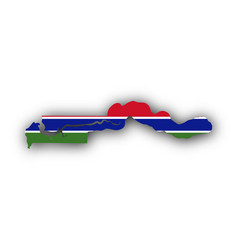 Map and flag of the gambia vector