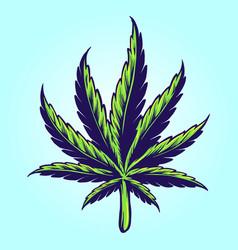 medical hand drawn cannabis leaf vector image