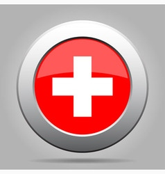 metal button with flag of Switzerland vector image