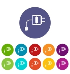 Mini charger set icons vector