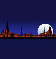 Moonlit night in the mexican desert vector