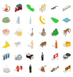 Mosque icons set isometric style vector
