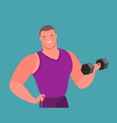muscular bodybuilder lifts heavy dumbbell gym vector image