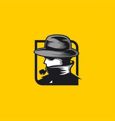 Mysterious detective mascot logo vector
