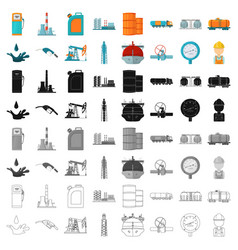 Oil industry set icons in cartoon style big vector