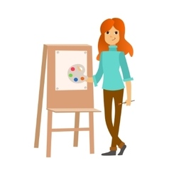 Painter Woman at Work Easel Palette vector image
