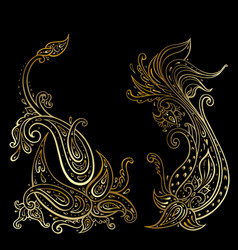Paisley ethnic ornament hand drawn vector