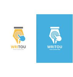 Pen and click logo combination write vector