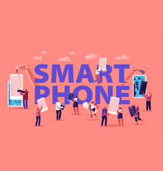 people assembling and using smartphones concept vector image