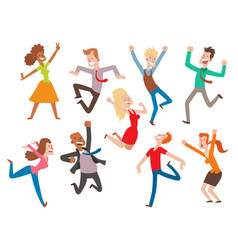 People jumping celebration party vector