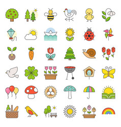 picnic nature and spring icon set vector image