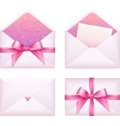 Pink envelope with ribbon set vector image