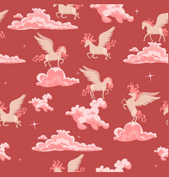 pink seamless pattern with pegasus in clouds vector image