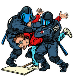 Police detain a protester violence against vector