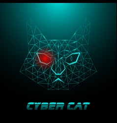 Polygonal muzzle of a cyber cat with a luminous vector
