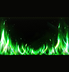 Realistic green fire border burning flame clipart vector